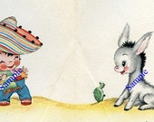 Instant Digital Download-Mexican Boy and Donkey clipart for craft projects