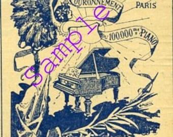 Digital Download-Vintage French Ad-Pianos A Bord, Paris