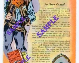 Digital Download-Western Postcard-Wyatt Earp, Frontier Law