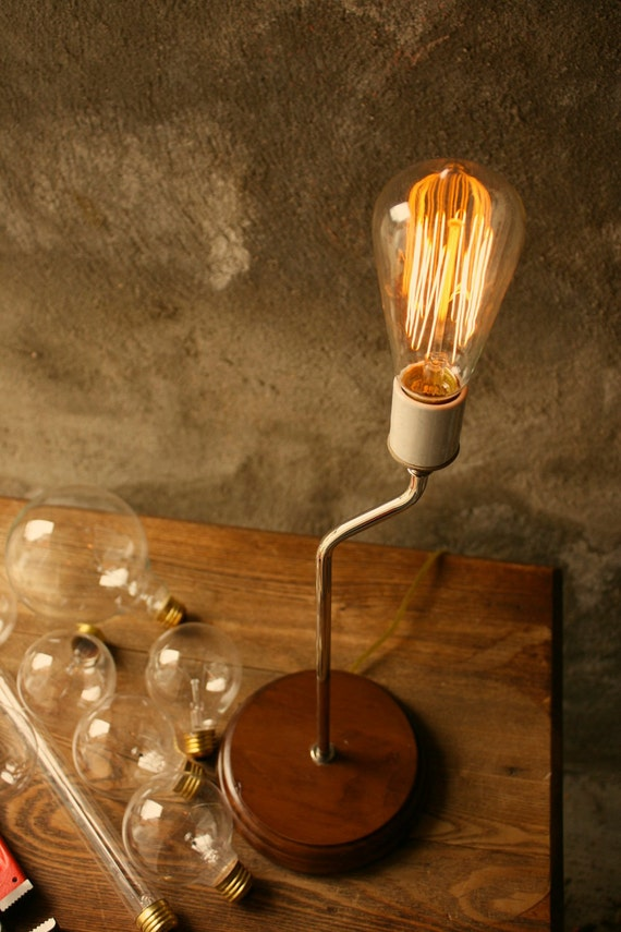 Items Similar To Industrial Table Lamp Light Wood Lamps