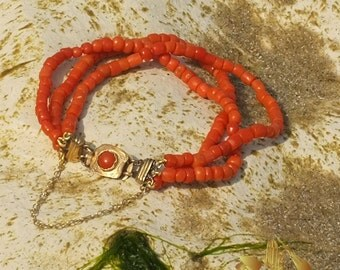 Vintage Red Coral Bracelet with matched cabochon filigree pinchbeck antique clasp