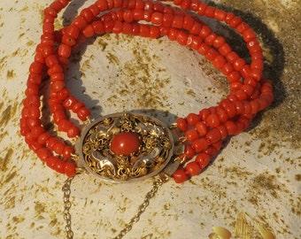 Vintage Coral Bracelet, 18 kt GOLD filigree antique clasp, matched coral cabochon