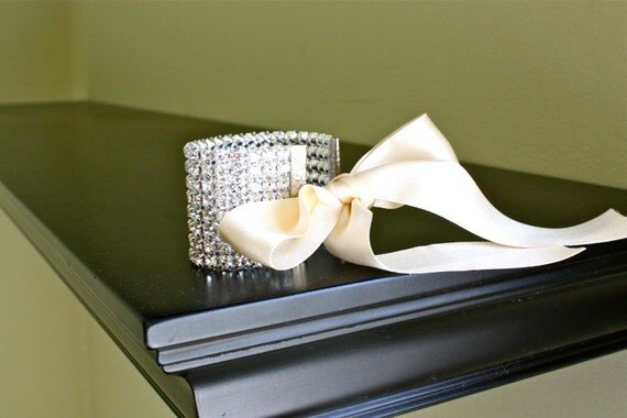 Rhinestone Cuff Bracelet w/ IVORY silk ribbon (Different widths and ribbon colors available)
