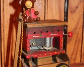 Vintage Organ Grinder's Musical Wagon Monkey Old Toy