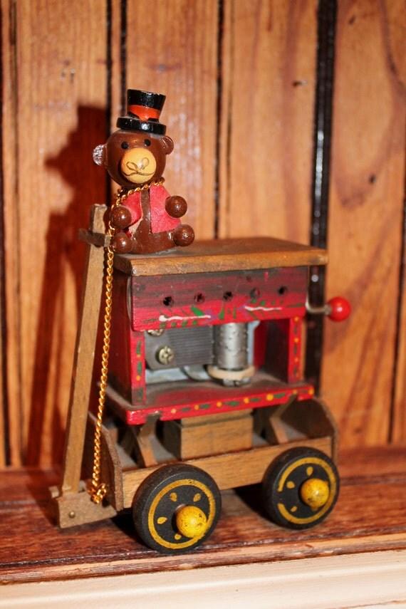 Vintage Organ Grinder's Musical Wagon Monkey Old Toy