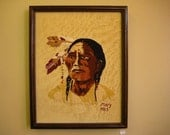 Vintage Embroidery of Native American portrait , framed