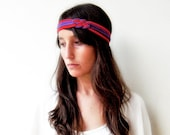The double knot headband - handmade in red and purple jersey fabric