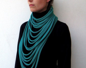 Layered necklace, layered and long, long necklace, statement neckwarmer, tribal - The padaung neckwarmer - handwoven in emerald fabric