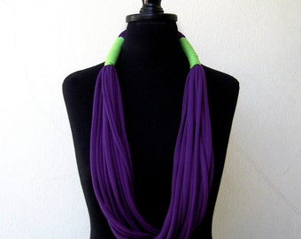 The tribal necklace - handmade in purple and lime green jersey fabric