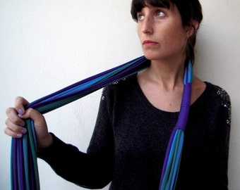 The noodle scarf - handmade in cobalt blue, emerald and calypso blue jersey cotton fabric