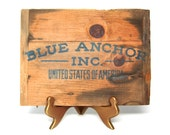 RESERVED FOR ADRIENNE...Vintage Sign Nautical Wood Blue Anchor Wooden Fruit Crate