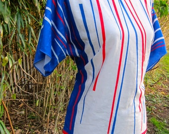 Vintage Vera Blouse 70s Red White Blue Shirt Short Sleeve