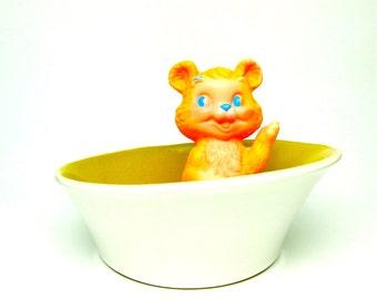 Vintage Serving Bowl White Chartreuse Asymmetric Pottery