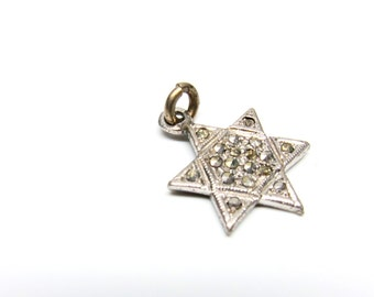 Vintage Star of David Charm Marcasite Silver Jewish Charm