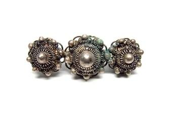 Filigree Brooch Silver Bar Pin Victorian Style