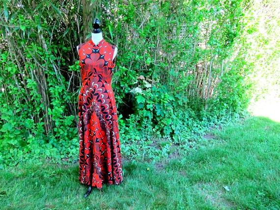 Vintage Maxi Dress 60s Mod Orange Op Art Size L Size M