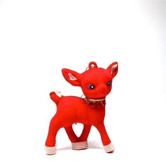 Deer Ornament Christmas Red Reindeer 1960s Holiday Decor