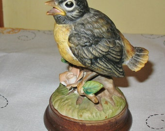 Vintage Josef Original Baby Robin on Wood Base Retro Decoration Baby Bird