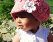 Crochet Baby Hat, kids hat, slouchy newsboy hat, hat for girls, crochet slouchy hat