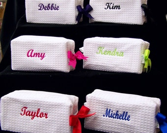 Set of 7 Cosmetic Bag Bridesmaid Gift Personalized Gifts Monogrammed Waffle Bags