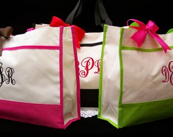 5 Personalized Tote Bags Bride Bridesmaids Maid of Honor Gifts