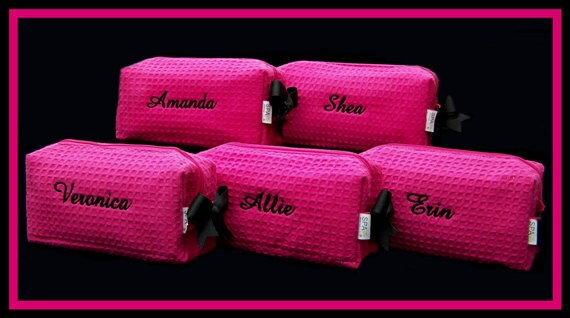 6 Personalized Small Fuchsia Waffle Weave SPA Cosmetic Bags