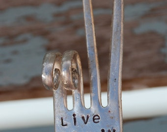 LIVE SIMPLY stamped Fork PEACE Sign House Plant Garden Art