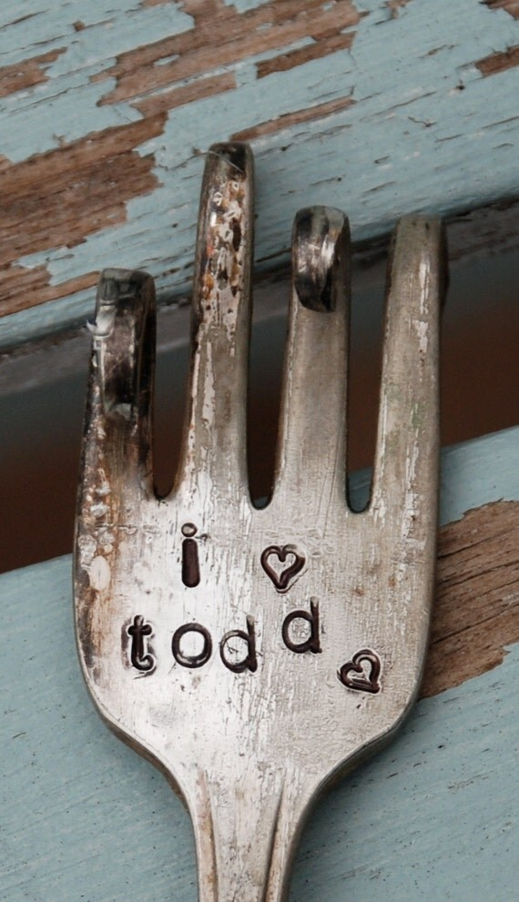 I Love What's His Name CUSTOM twisted Vintage Fork Garden Marker or Spoon