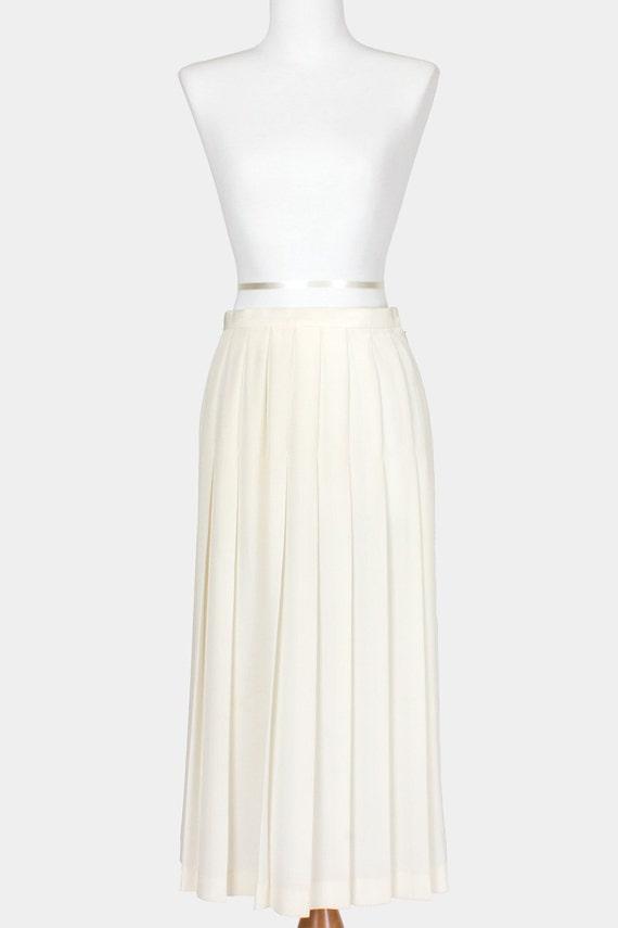 80s Vintage Skirt Pleated White Cream Small Medium