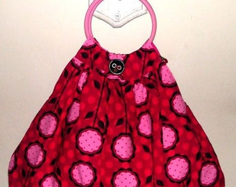SALE** 40% OFF** Kawaii, Lolita, Retro style. REVERSABLE, Bubblegum Pink and Ruby Red Flowers. Polka dots.