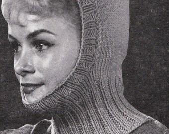 Knit Womens Balaclava 1960's Vintage Knitting PDF PATTERN