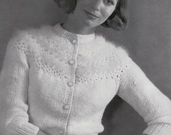 Knit Womens Cardigan With Angora 1960's Vintage Knitting PDF PATTERN Retro Mad Men