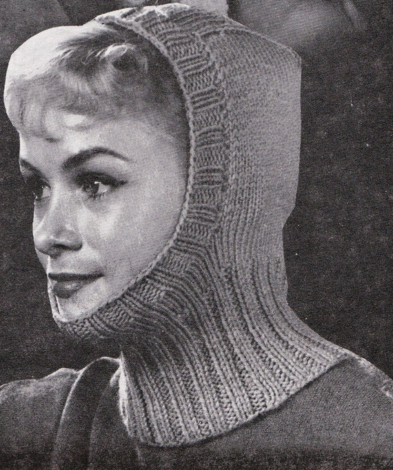 Ladies Balaclava Knitting Pattern : Knit Womens Balaclava 1960s Vintage Knitting PDF by padurns