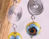 Silver Spiral and Flower Ceramic Bead Drop Earrings
