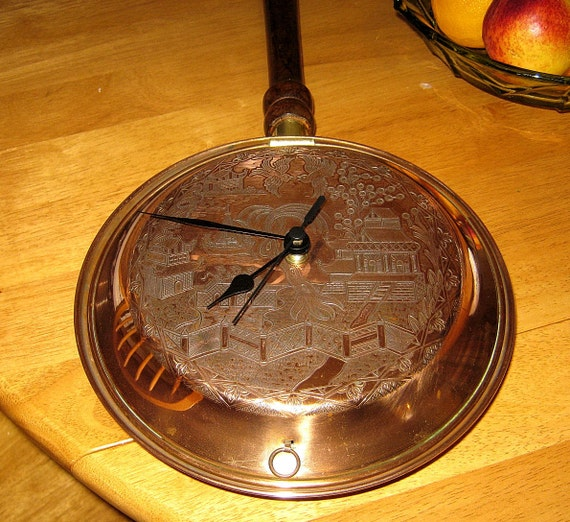 Recycled Large Copper Bedwarming Pan Clock