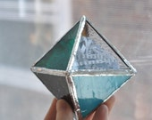 Octahedron No.2, W.B. Yeats, Brown Penny, Platonic Solid Glass Sculpture