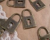 8 - Skeleton Key Lock Charms, Antique Bronze Small Key Lock Vintage Jewelry Supplies (B003)