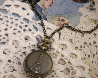 1 Pc Small Eiffel Tower Pocket Watch French Paris Round Locket Pendant Necklace (BB016)