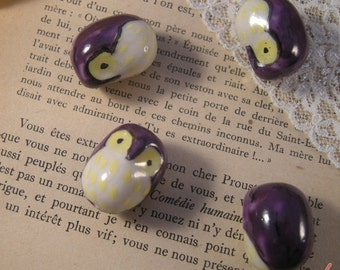 4 - Owl Beads, HAND PAINTED Porcelain in Purple and Yellow, Small Owl, Vintage Jewelry Supplies