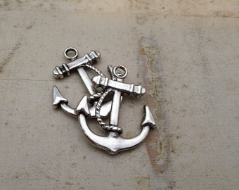 Anchor Charms, Antique Silver, Nautical, Vintage Jewelry Supplies Silver Anchor (BA150)