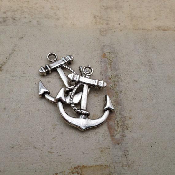 Anchor Charms, Antique Silver, Nautical, Vintage Jewelry Supplies Silver Anchor (BA150)