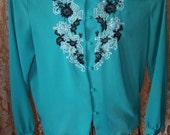 Womens 80's Sheer Long Sleeve Blouse / Size Medium