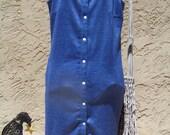 Retro  Blue Womens 70's Snap Down Dress