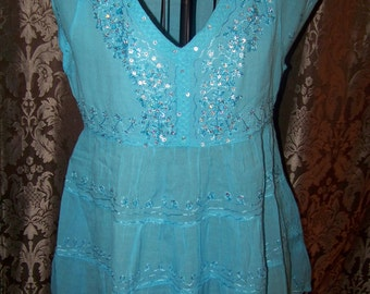 Pretty Blue Womens Baby Doll Blouse/ Size Medium