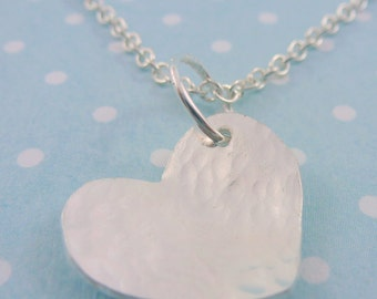 Silver Heart Necklace - Solid Sterling Silver 925 Heart Pendant Charm Chain Handmade