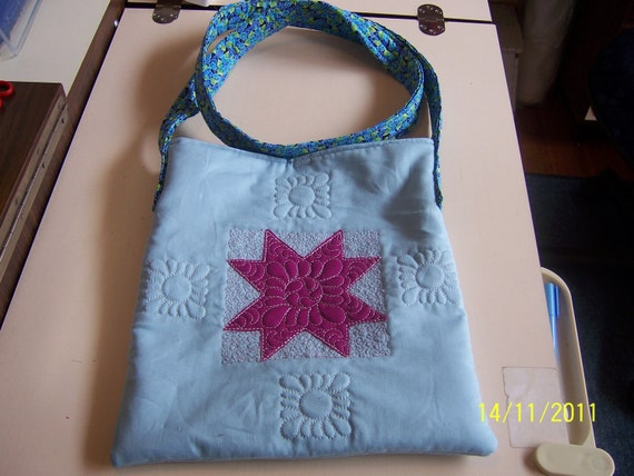Quilted Messenger Bag - Quilted Shoulder Bag - Quilted Applique Bag - Blue Quilted Bag - Across the shoulder Bag
