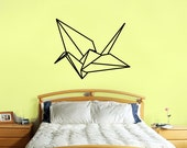 origami crane wall decal- large size origami crane bird wall sticker