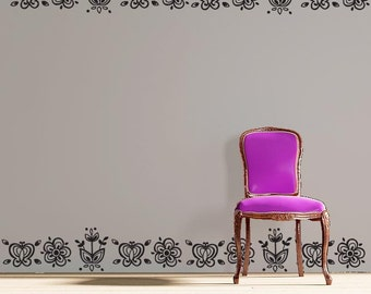 Flowers and Butterflies Vinyl Wall Decal - Geometric Wall Borders