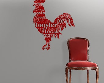 "Rooster sillhouette vinyl wall decal- Rooster decal with ""rooster"" repeated in different fonts"