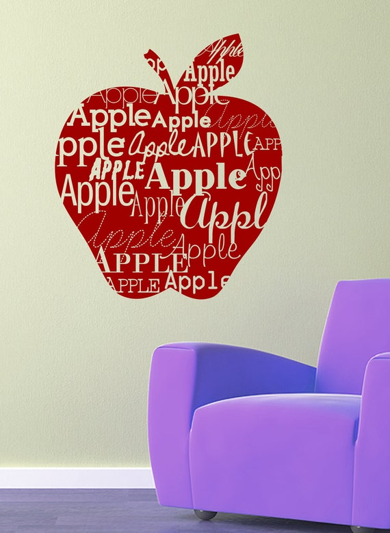 "Apple sillhouette vinyl wall decal- apple decal with ""apple"" repeated in different fonts"